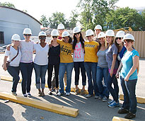 group of students in hard hats